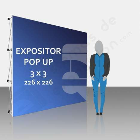 Expositor publicitario Pop Up 3x3 (226x226 cm)